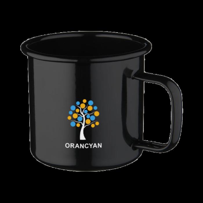Enamel mug Amelia, Enamel mugs with logo, nice mugs, original mugs, coloring, glossy color, matt color, velvet color, engraving logo, imprint logo, printing logo, own color, own Pantone, advertising mugs