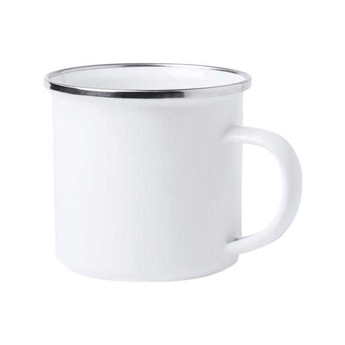 Enamel mug Sofia, enamel mug with silver rim, ready to own color
