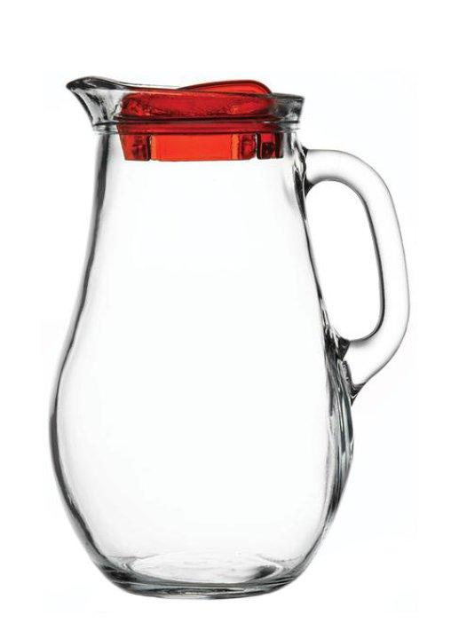 Glass Jug Bera 1850 with cover, nice glass, original glass, advertising glasses