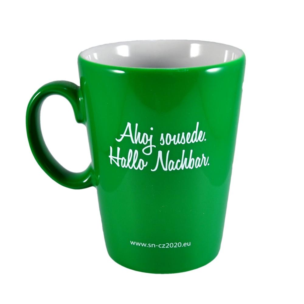 Porcelain mug Ivone, Porcelain mug with logo, nice mug, original mug, coloring, green color, engraving logo, colored engraving, imprint logo, printing logo, own color, own Pantone, advertising porcelain, original porcelain, advertising mugs,